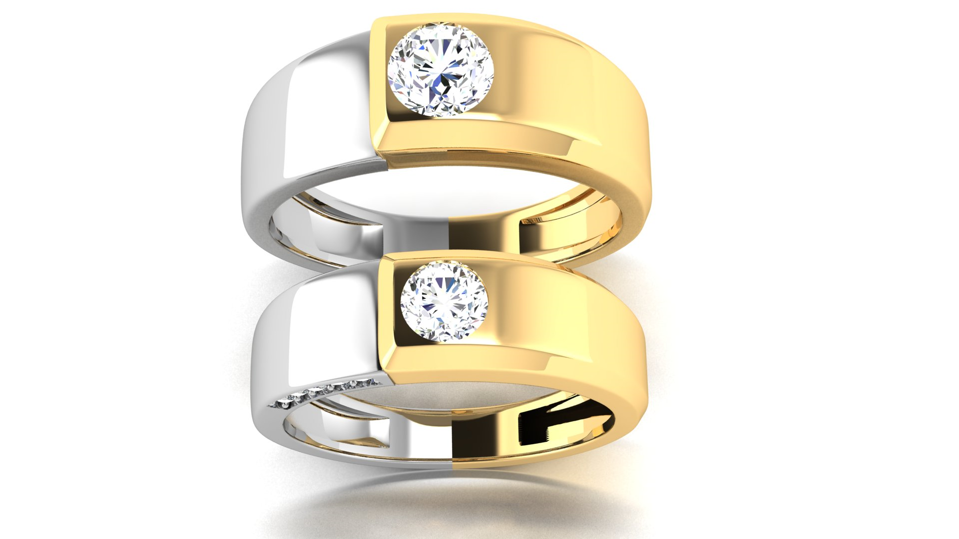 Amazing Couple Rings with Single Diamond Design