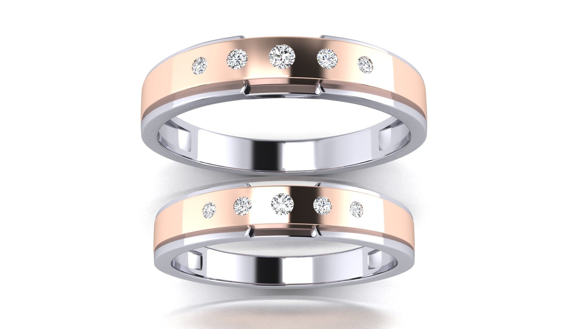 Elegant Couple Bands Twin Ring for Engagement