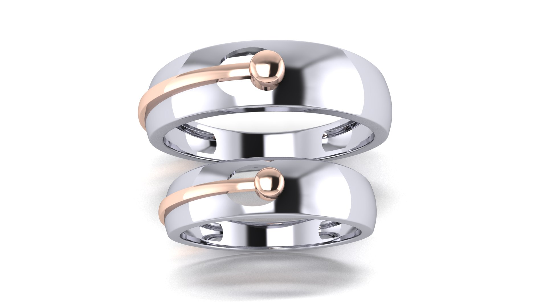Couple Bands Designer Silver Ring