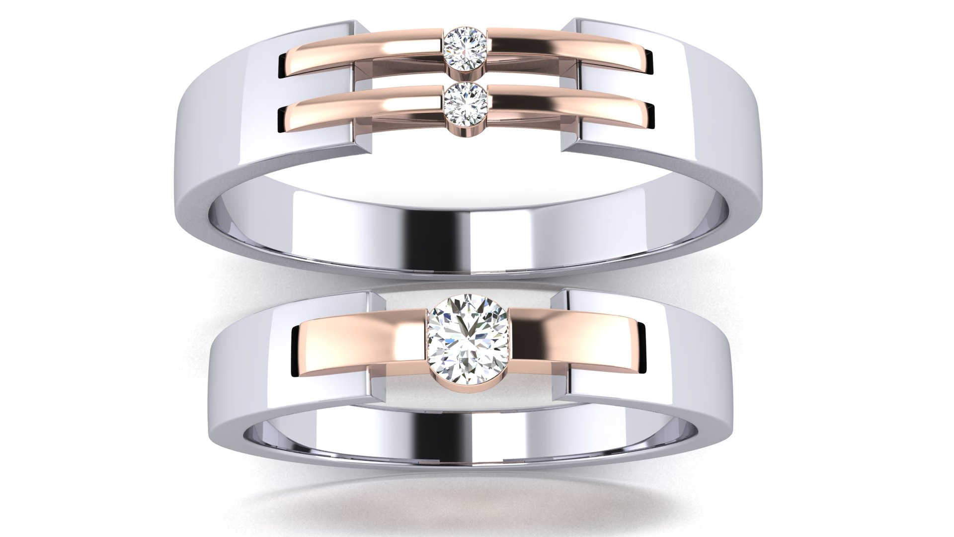 Couple Bands Stylish Engagement Ring