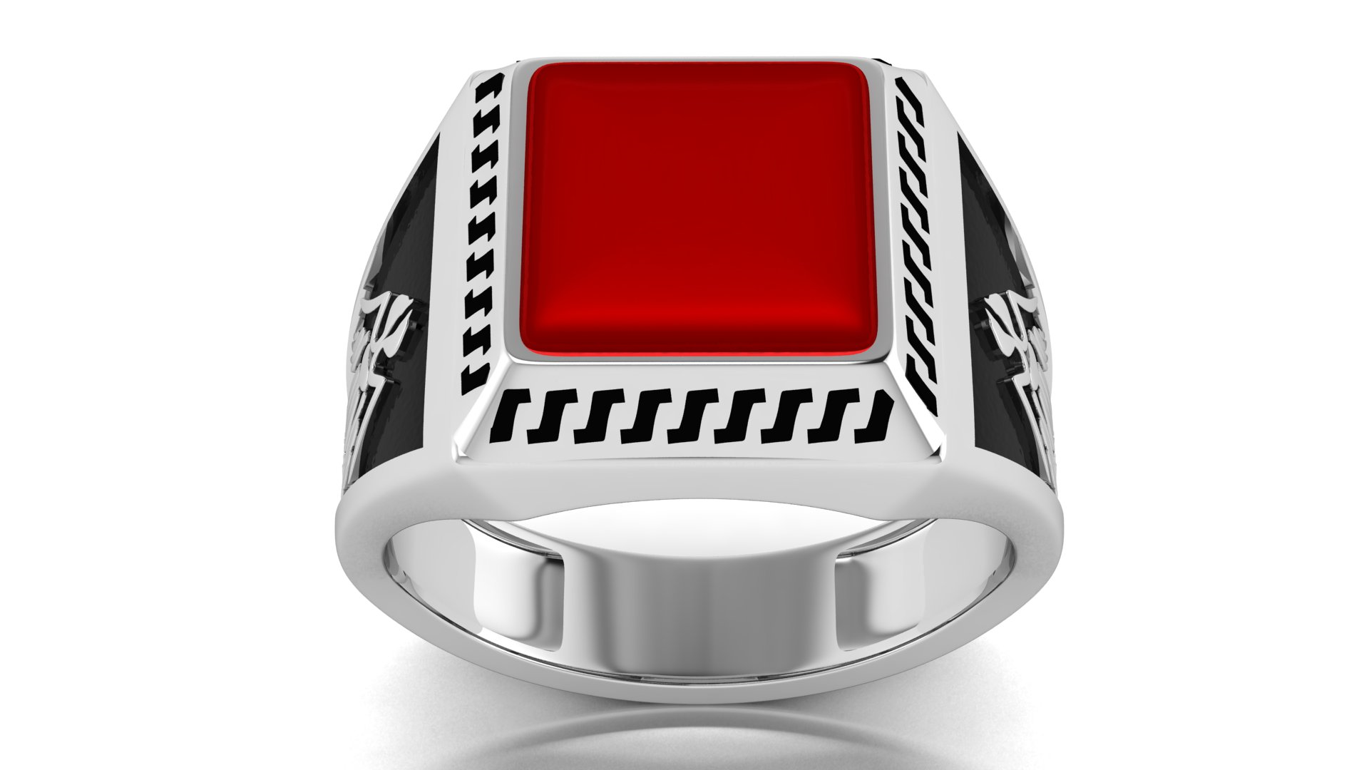 Red Color Silver Black Plated Men's Ring