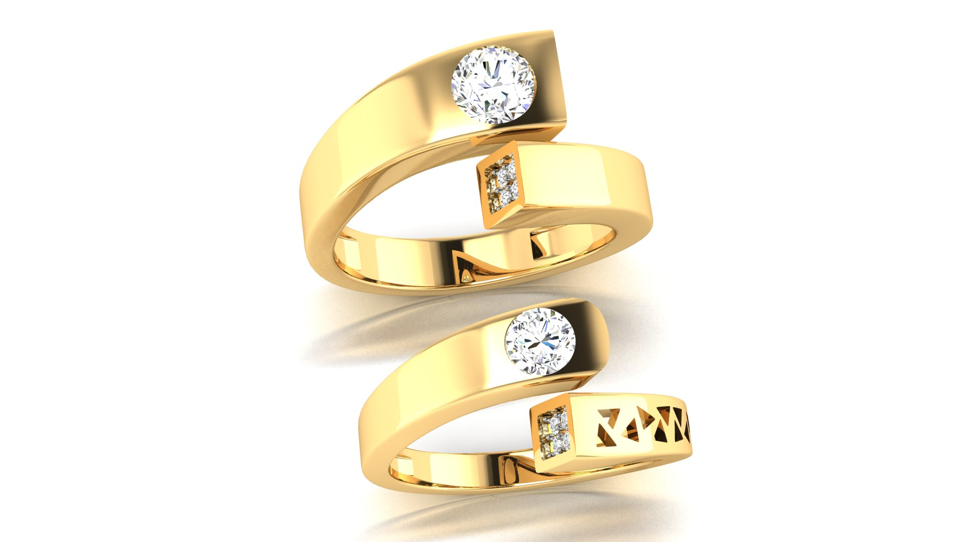 Unique Designer Couple Bands Gold Rings