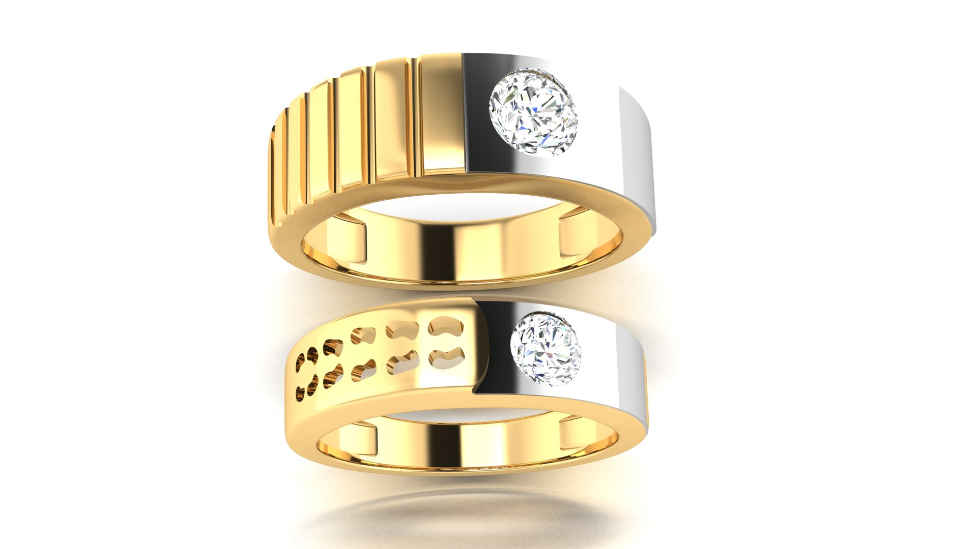 Yellow Gold One Diamond Designer Couple Ring