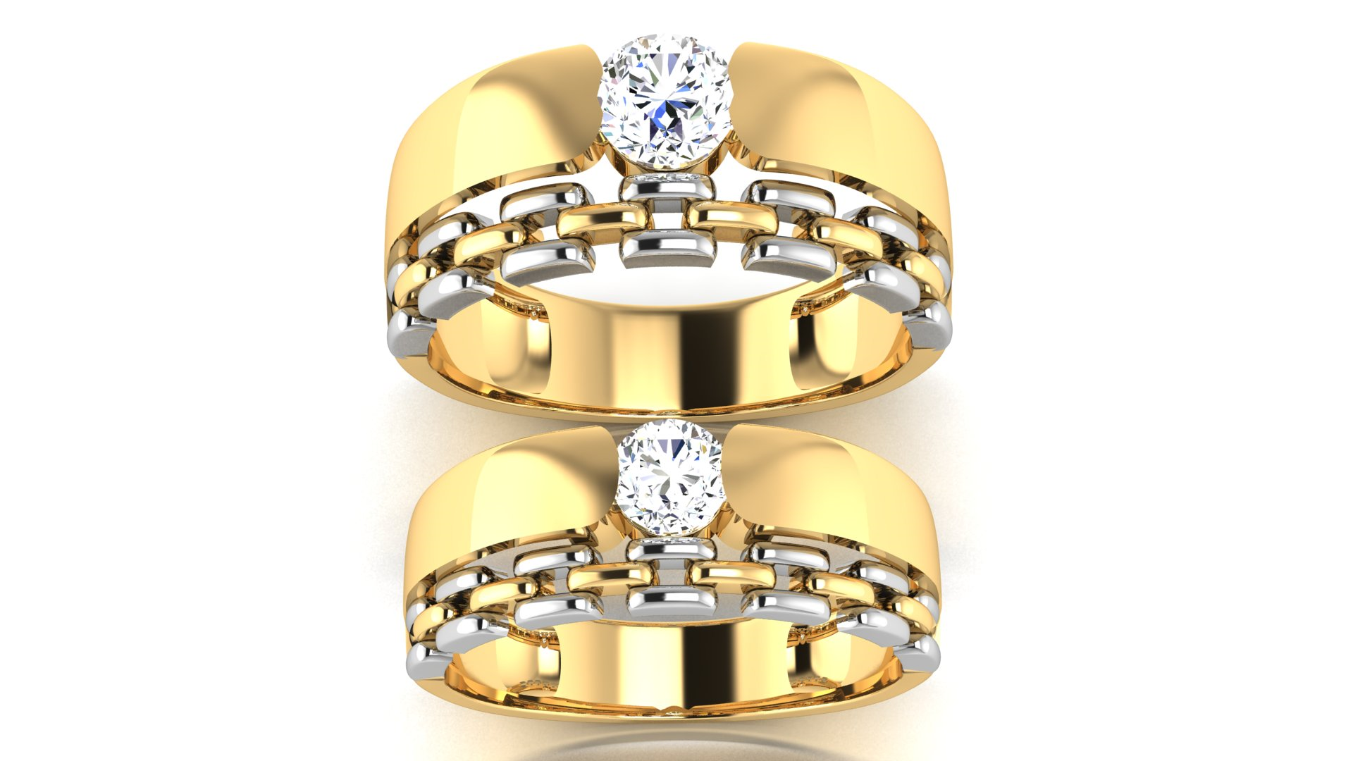 Chain Design Single Diamond Ring for Couples