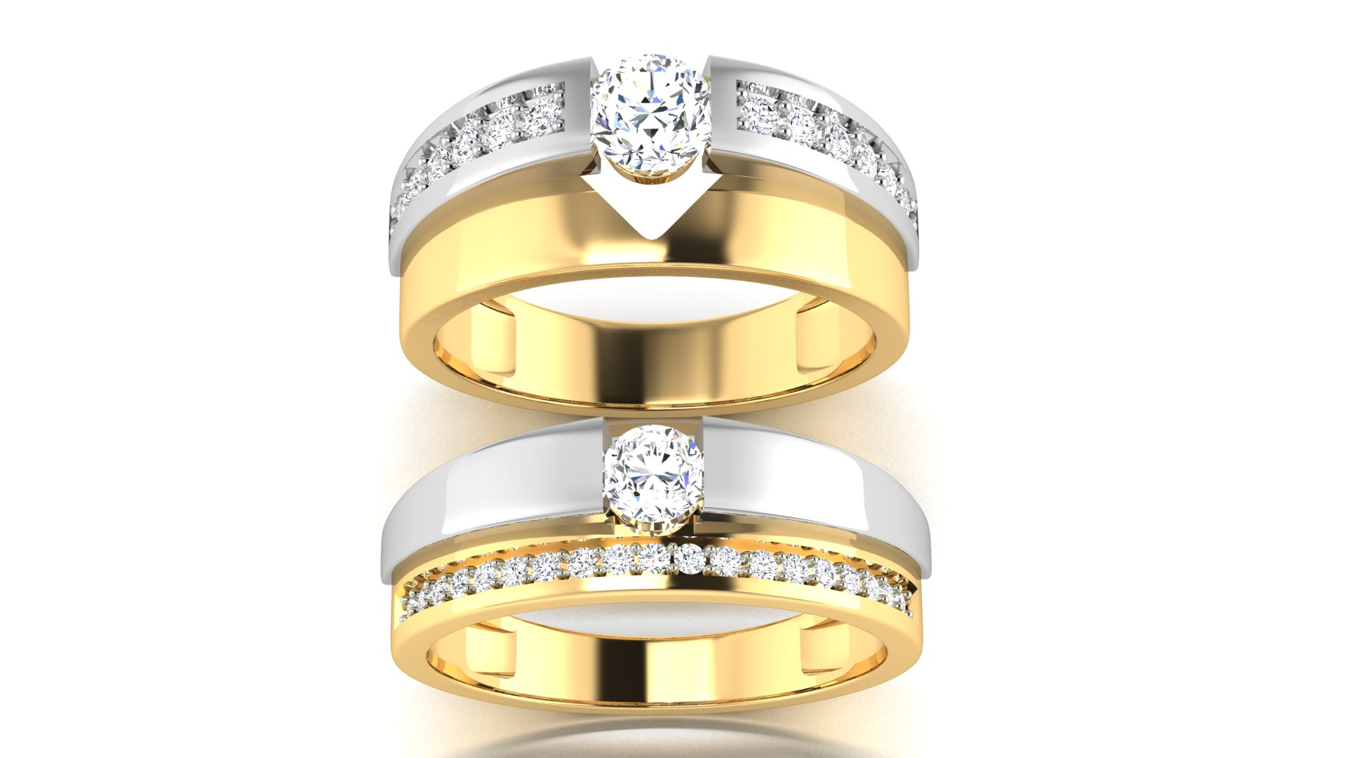 White Diamond 18 & 20 Carat Couple Rings