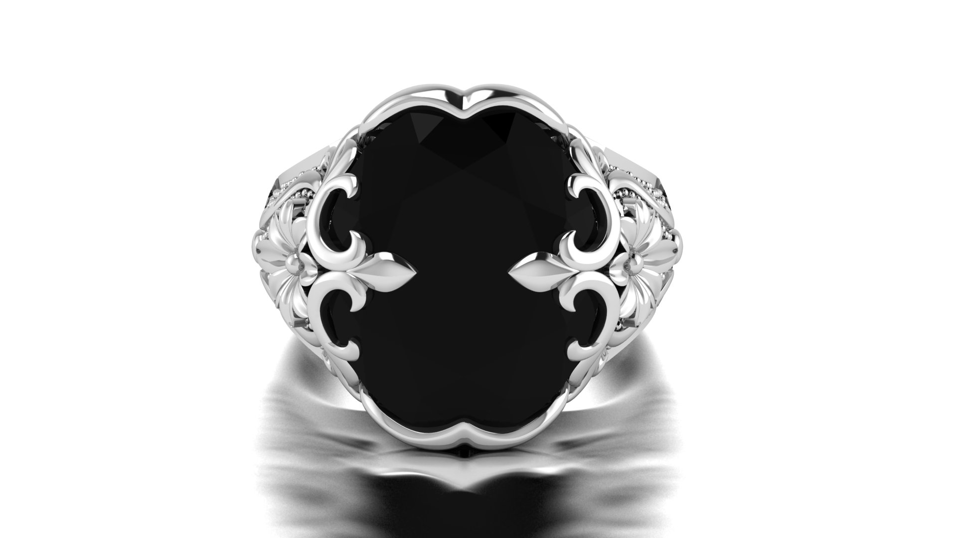 Flower Design Black Stone Color Ring for Men