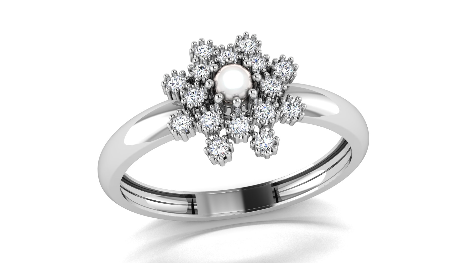 Flower Shape White Diamond Ladies Ring