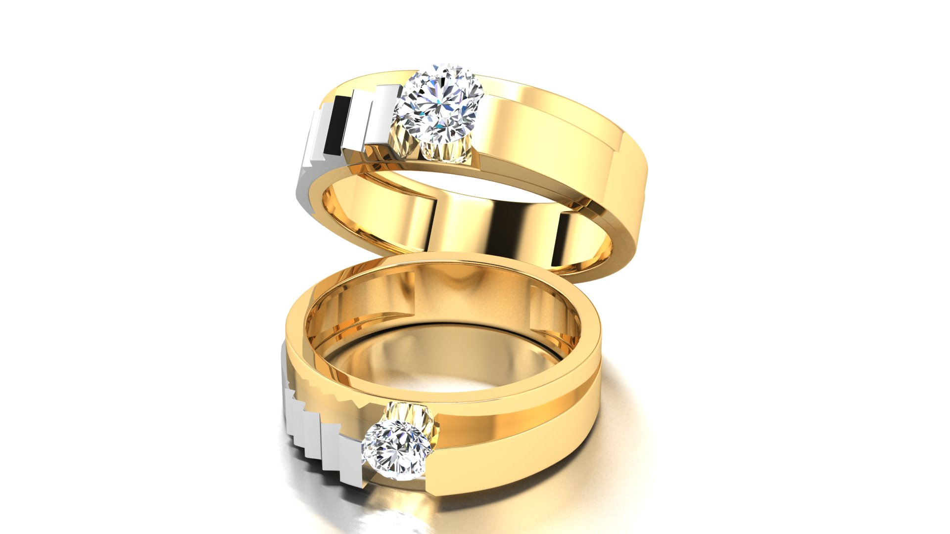 Exclusive Gold Couple Ring with Studded Diamond