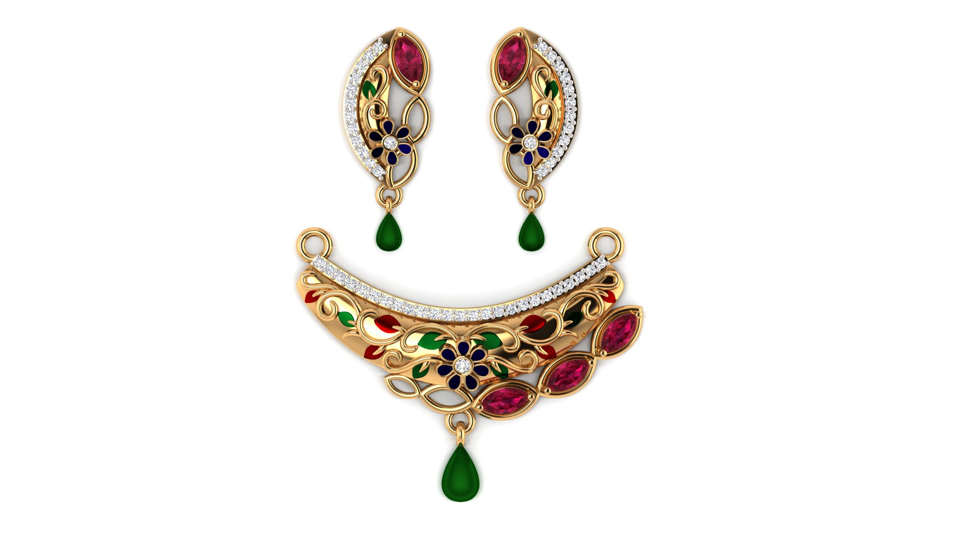 Red and Green Color Stone Diamond Mangalsutra