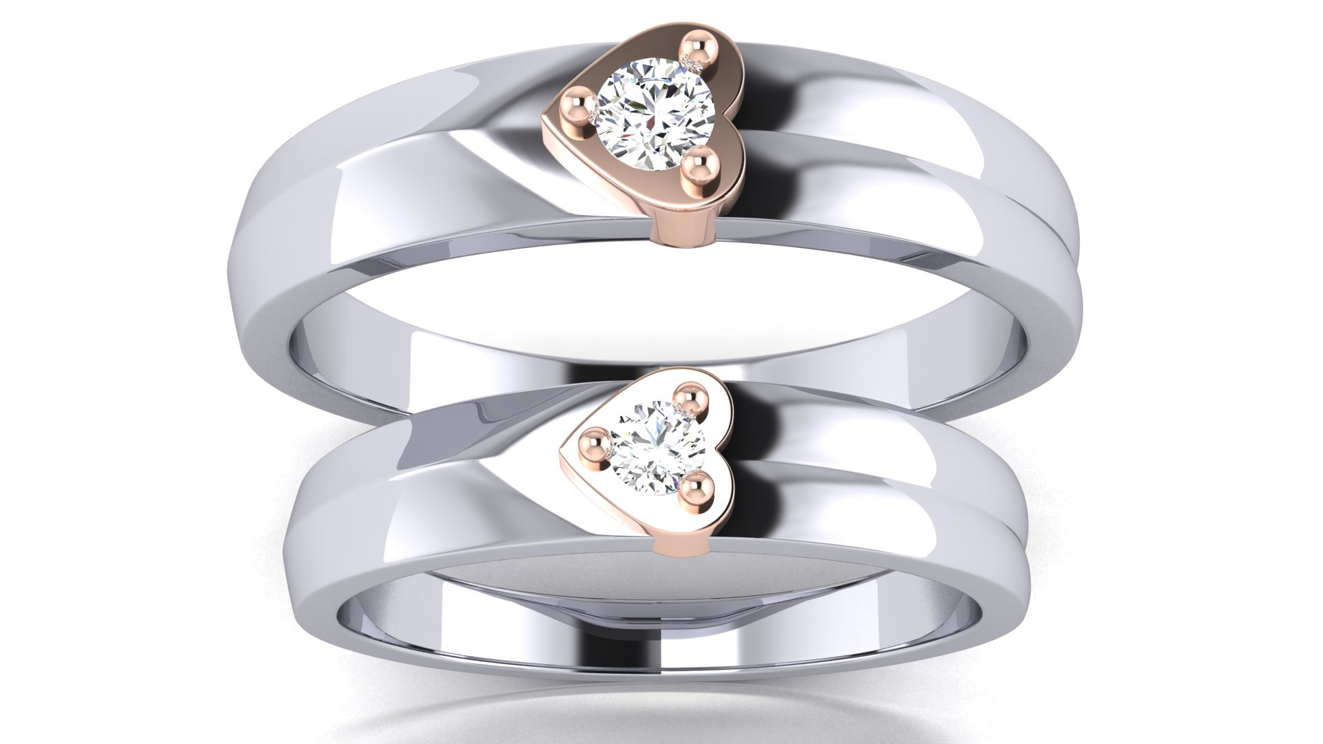 One Diamond Heart Shape Couple Bands Ring