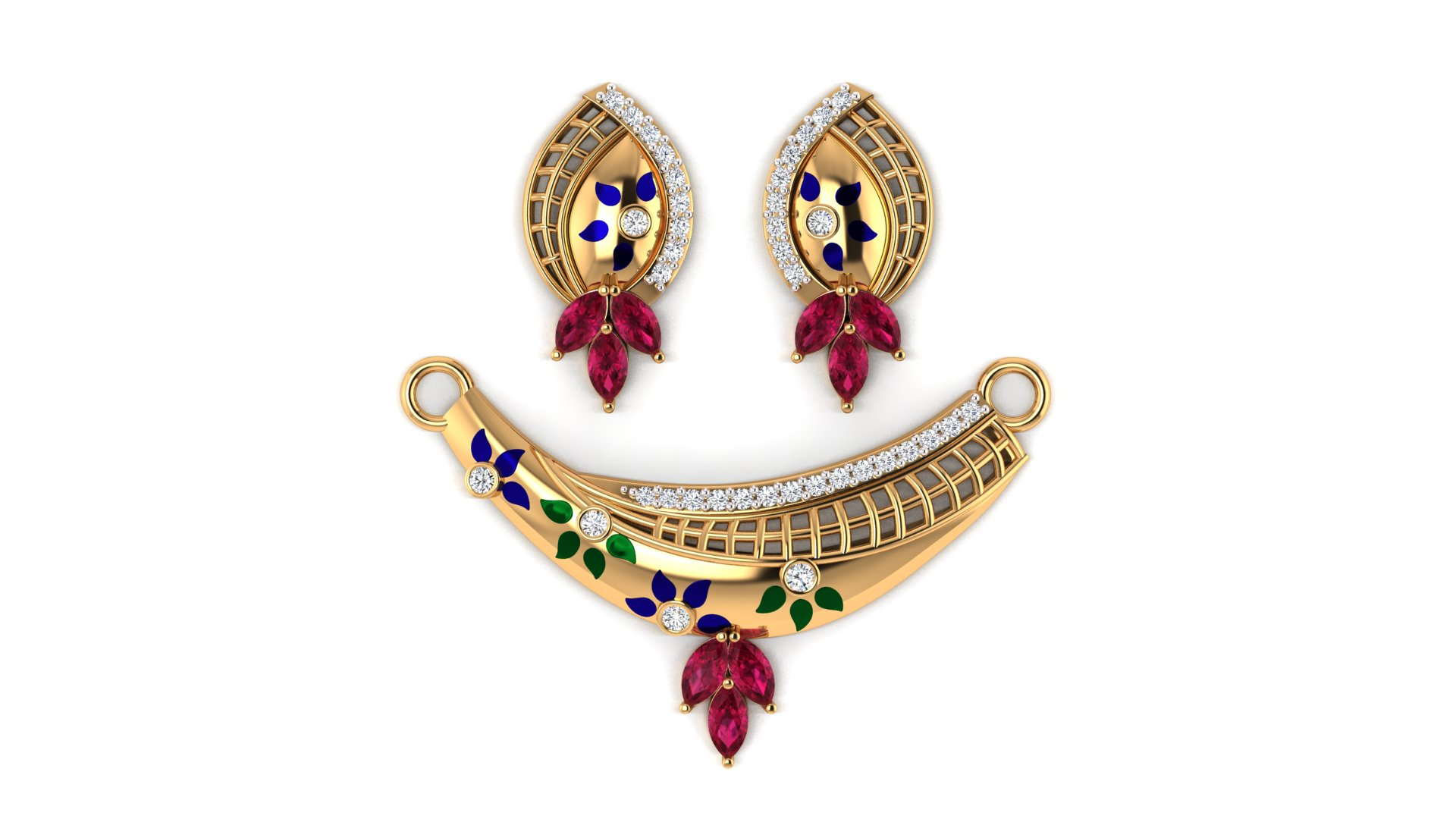 Floral Design Mangalsutra with Matching Earrings
