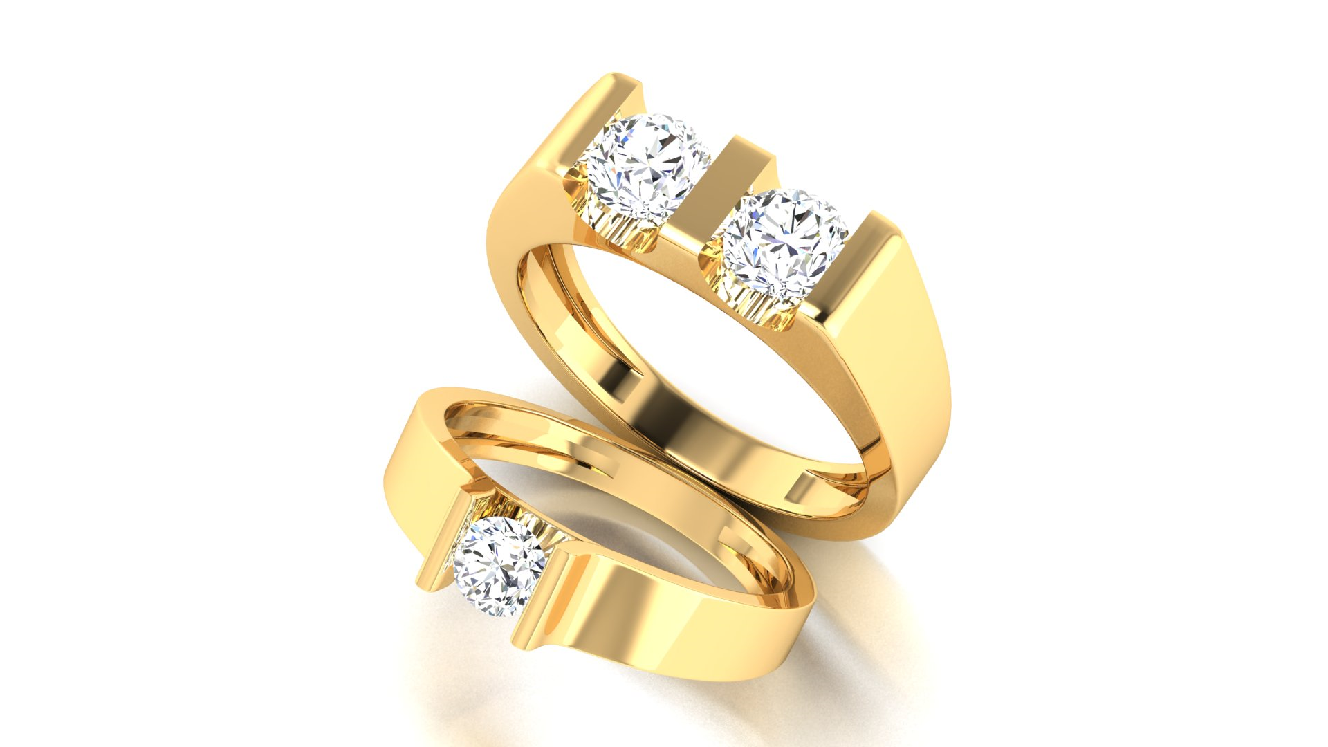 18 Carat Gold Couple Ring for Engagement Ceremony