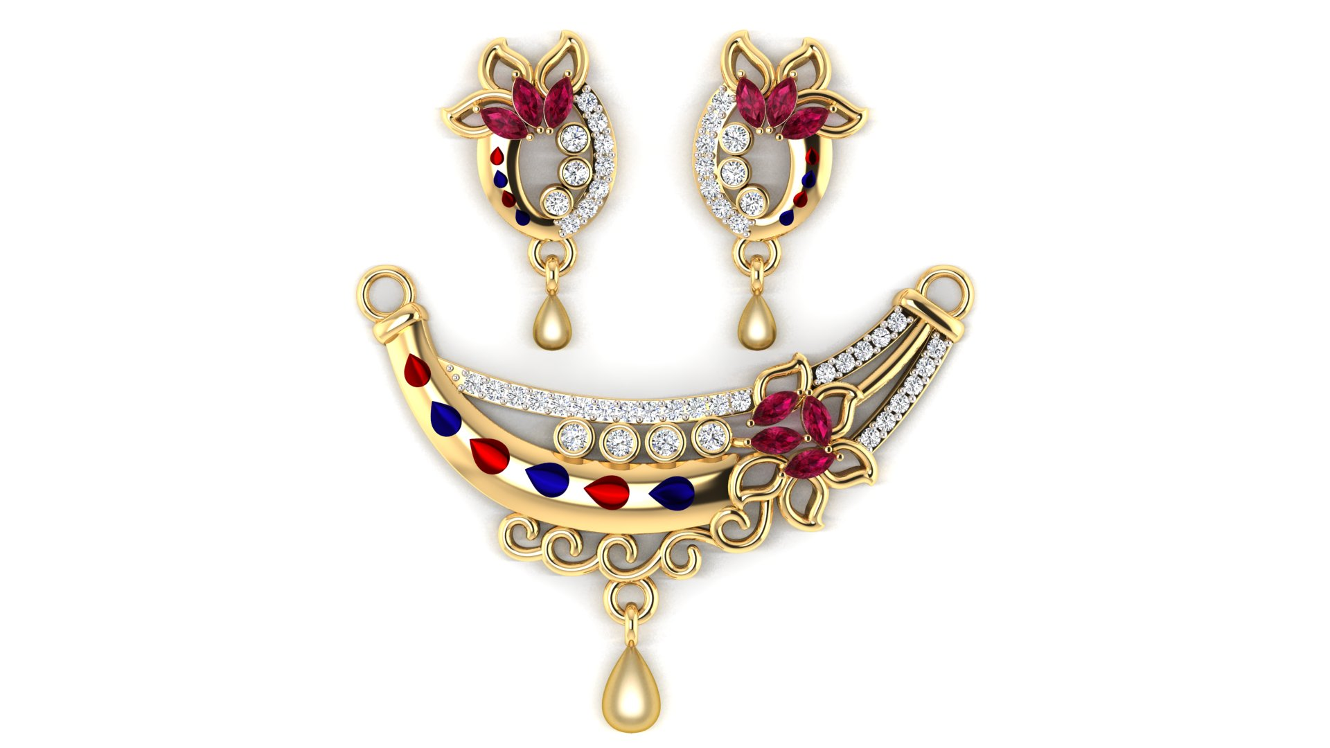 Flower Leaf Design Mangalsutra with Earrings