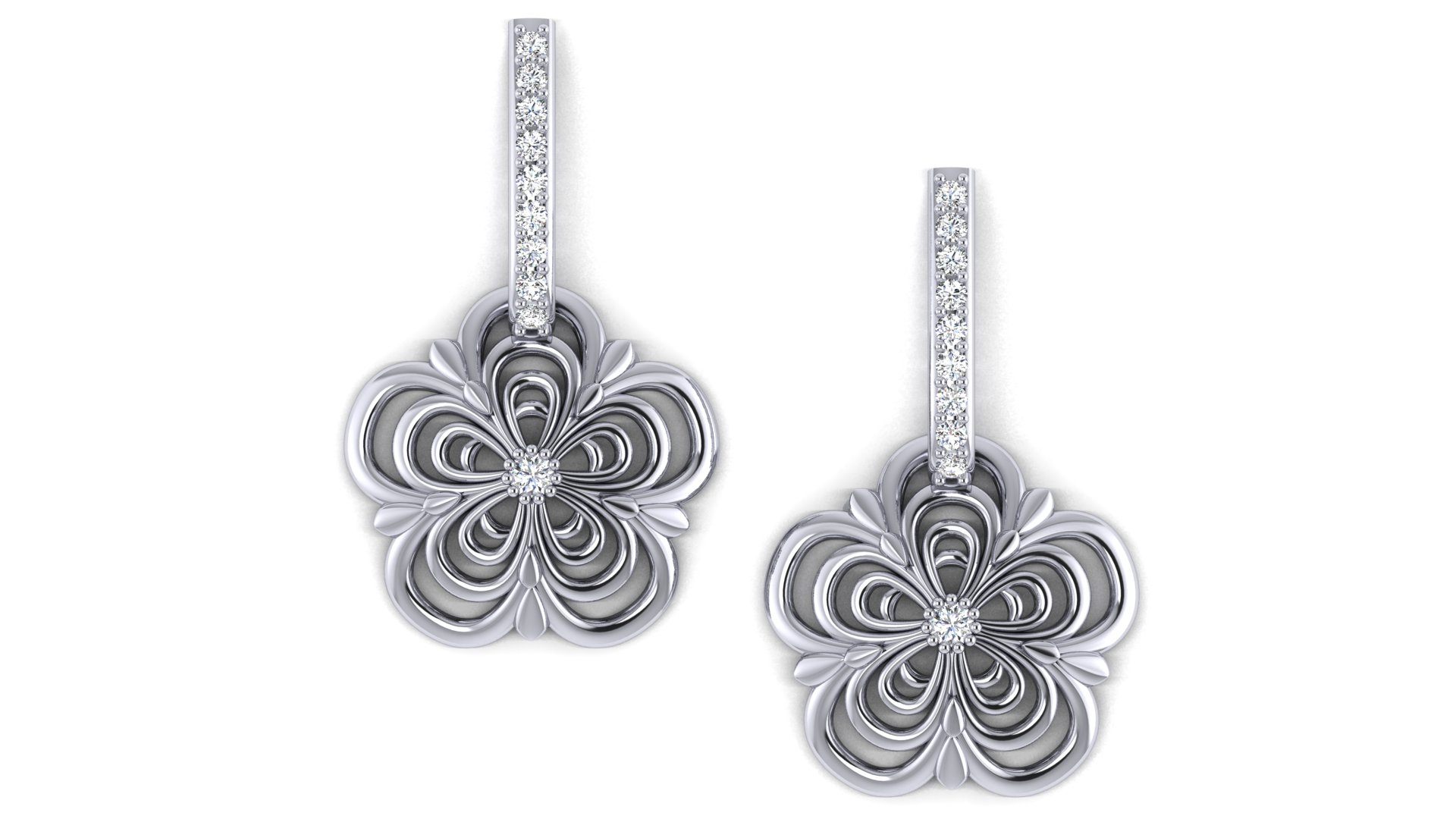 Flower Design Silver Earrings