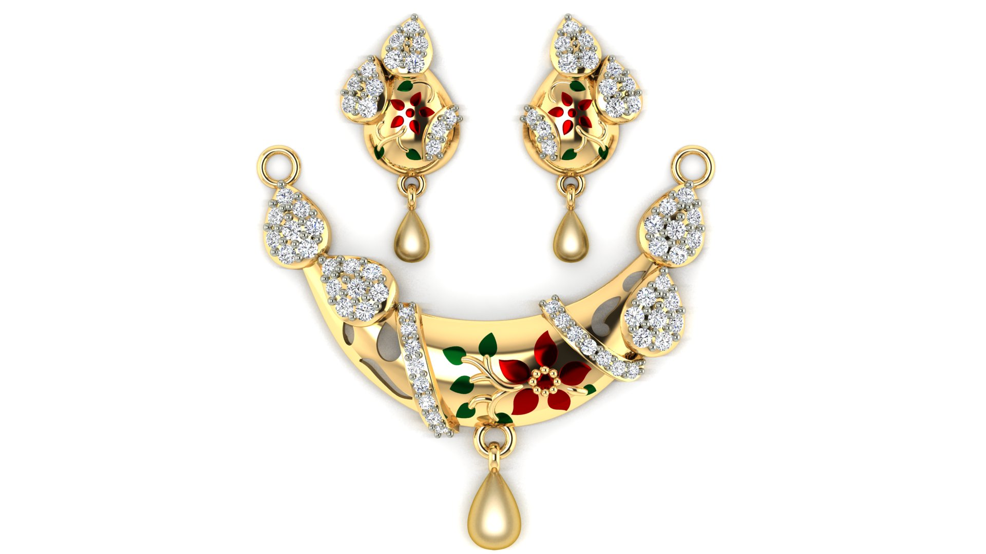White Diamond Floral Design Gold Mangalsutra