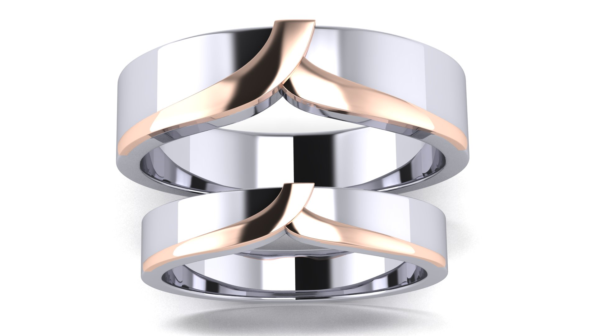 Women Couple Bands Silver Ring for Engagement