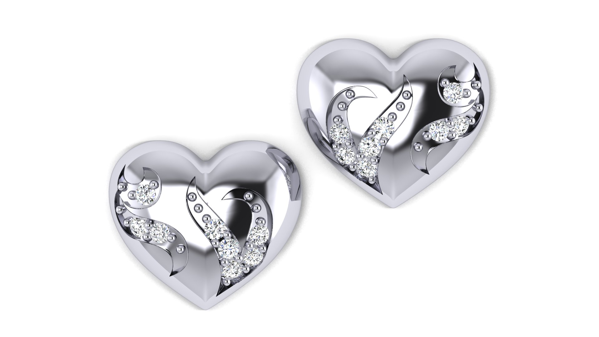 White Diamond Silver Heart Shape Earrings
