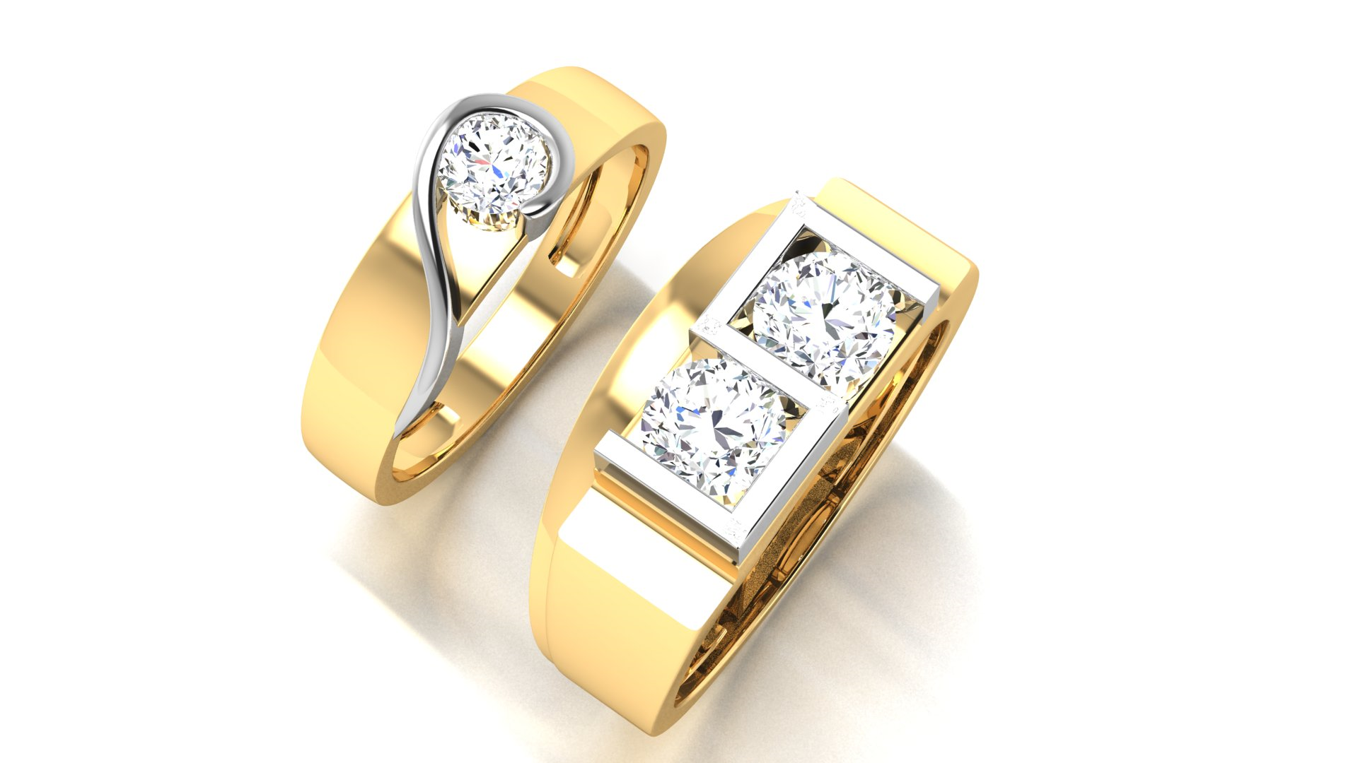 YG/WG Metal Gold Couple Ring