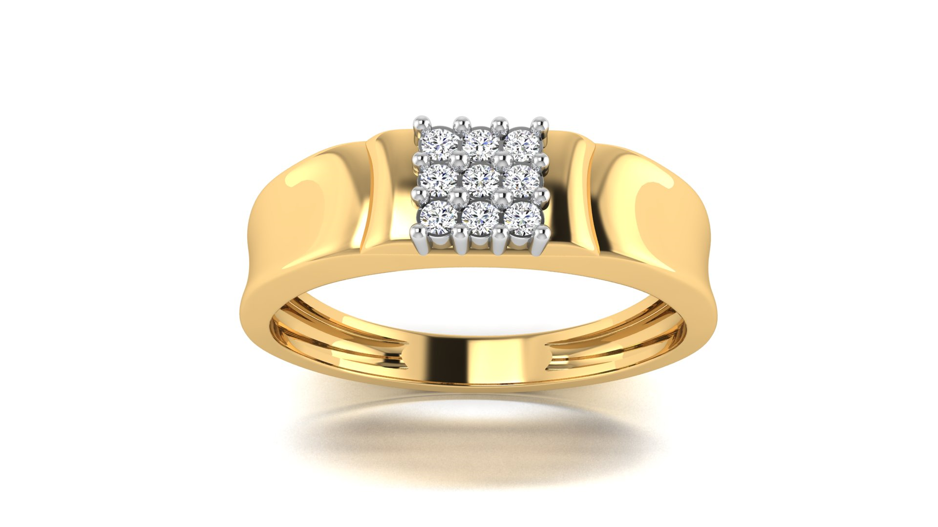 Studded Diamond Heavy Gold Men's Ring