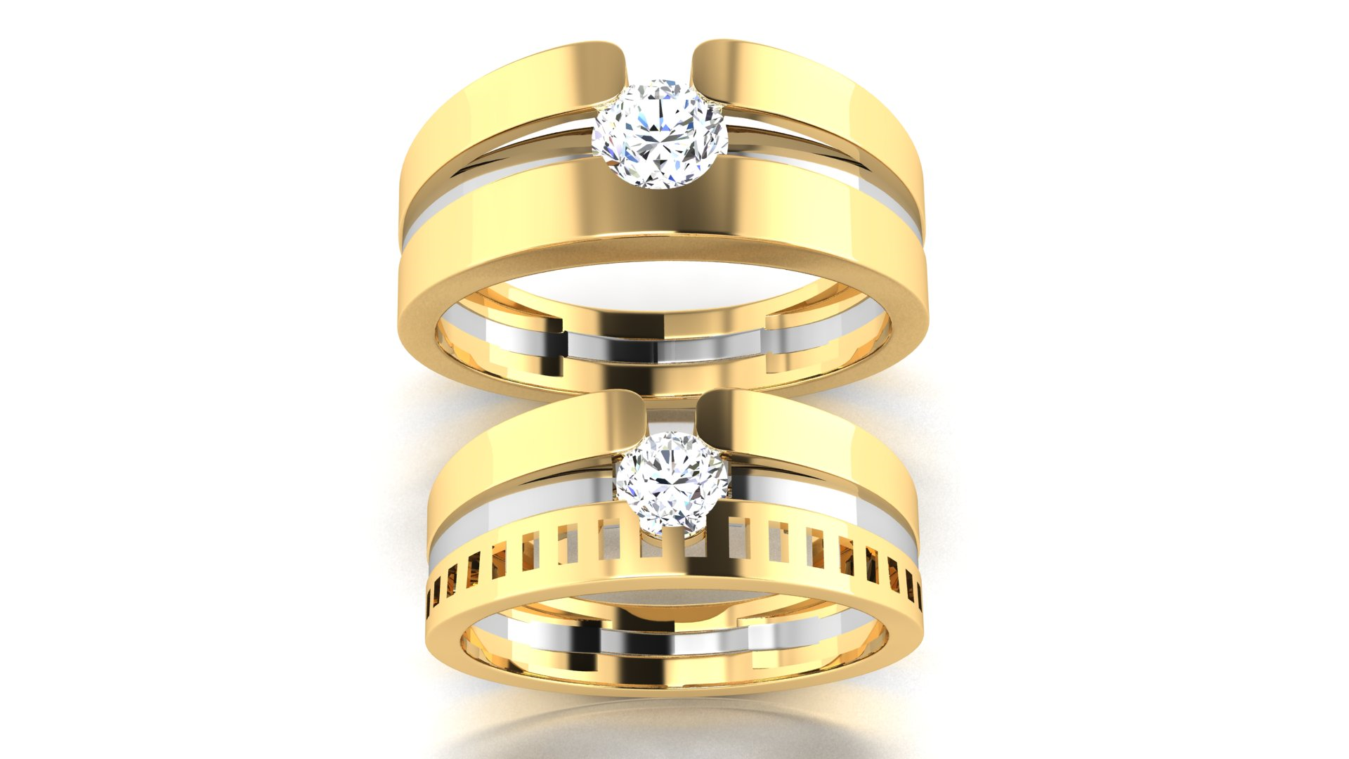 Couple Bands Gold Couple Ring