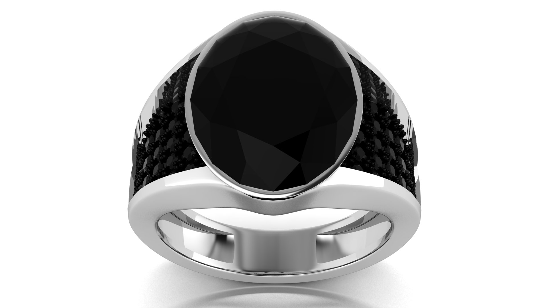 Casual Wear Silver Black Stone Ring
