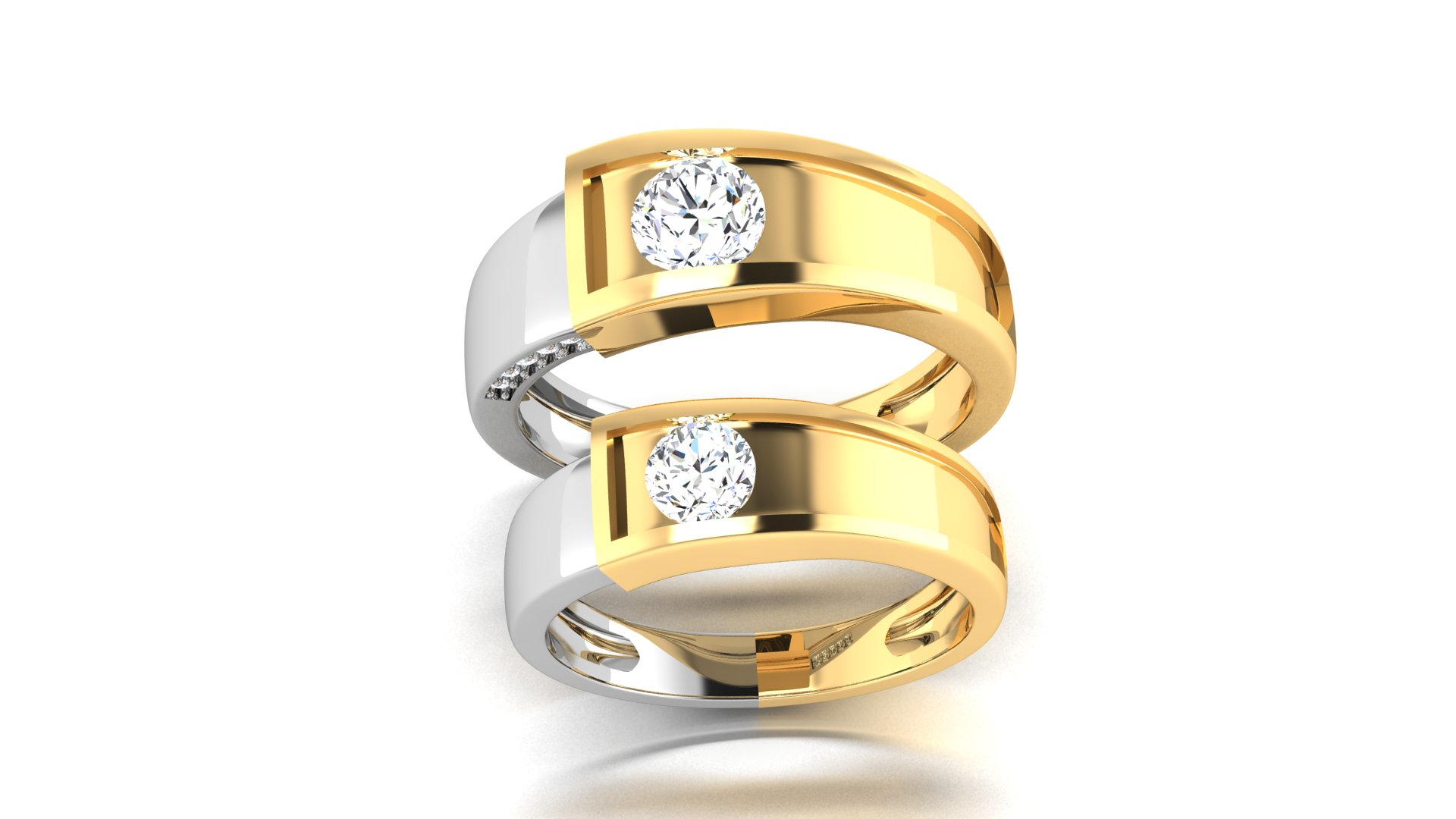 Couple Bands Silver Yellow Gold Couple Ring