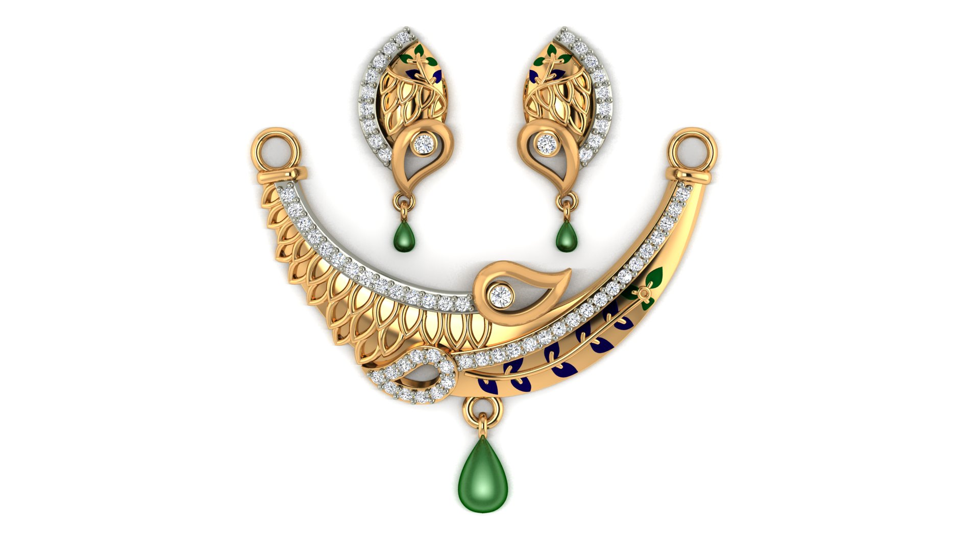 Gold Mangalsutra with Stylish Earrings