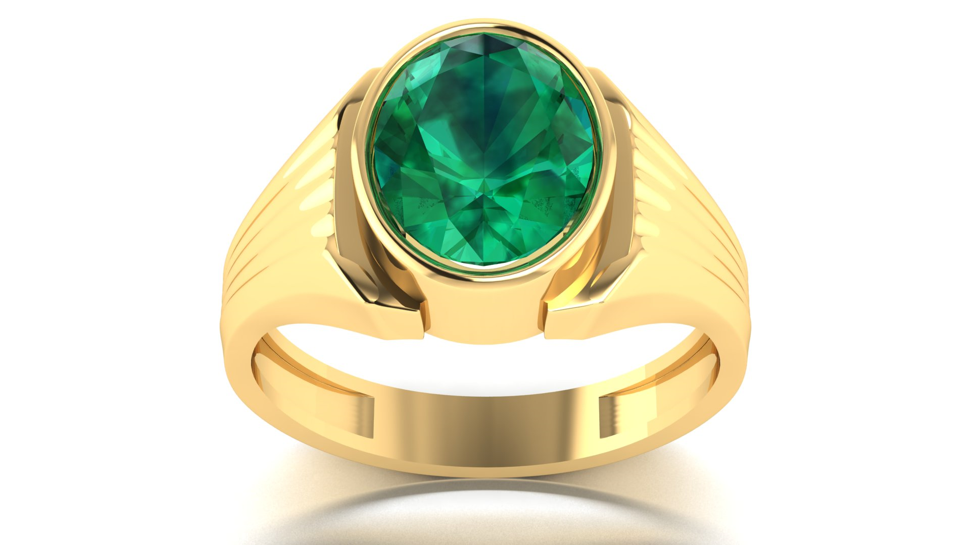 Green Colour Stone Gents Ring Online