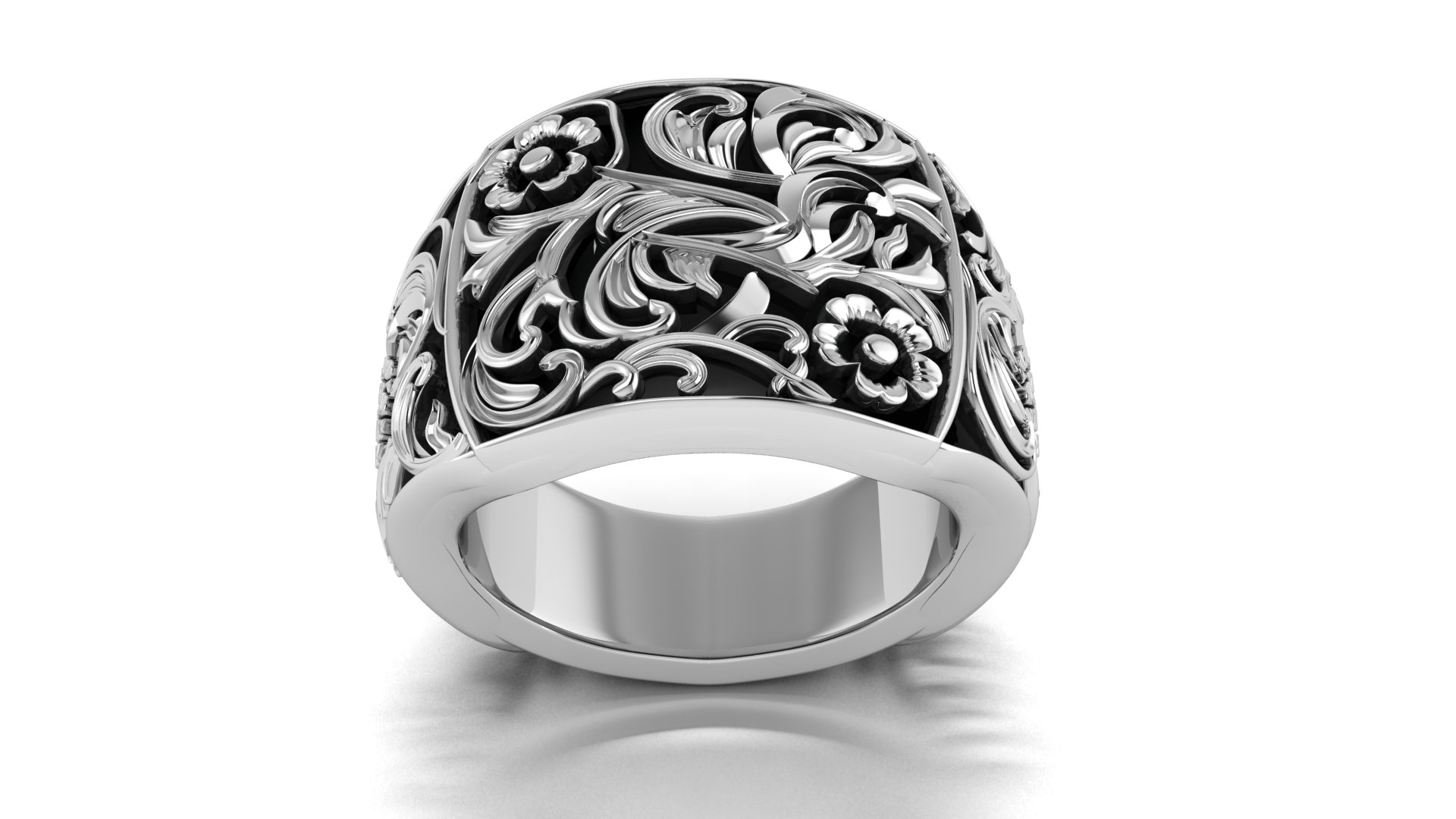 Flower Design Silver Gents Ring at Jeweldezire