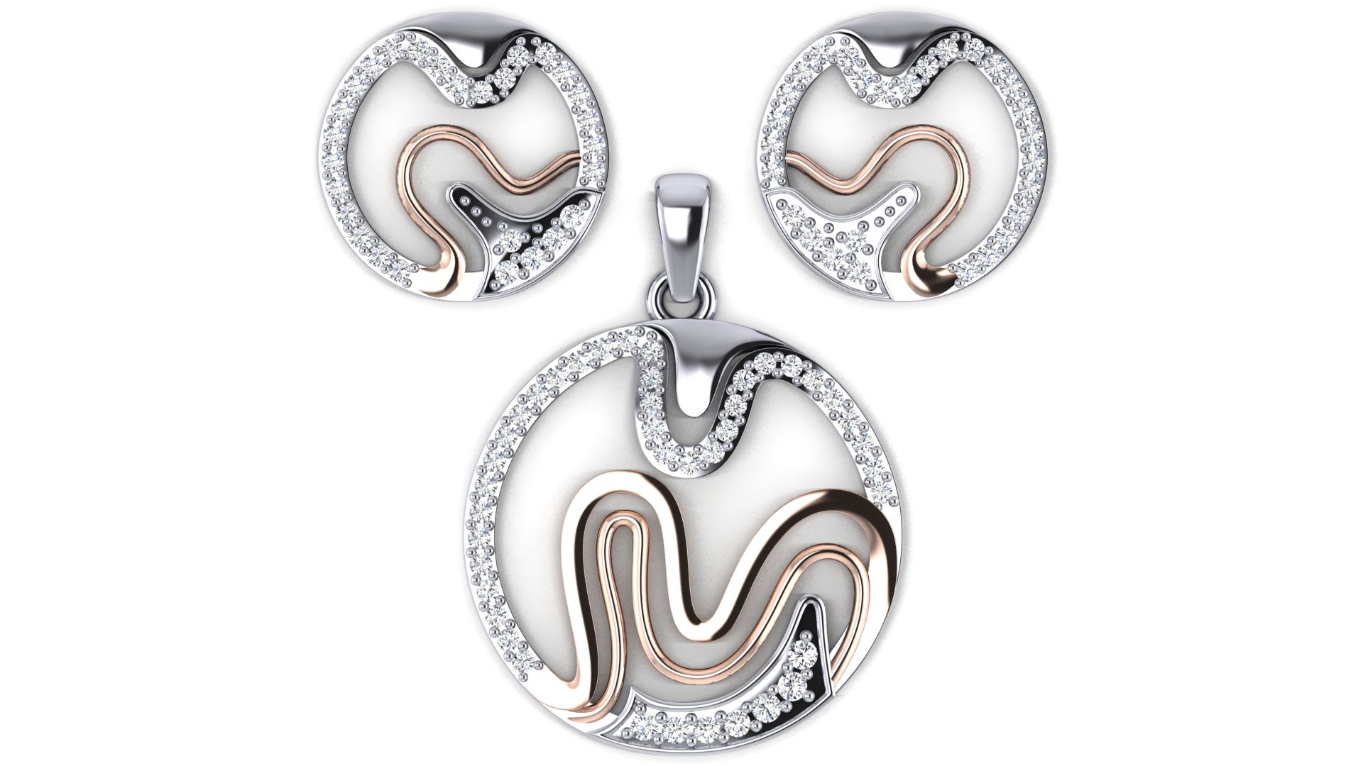 Round Shape Diamond Silver Pendant Butti