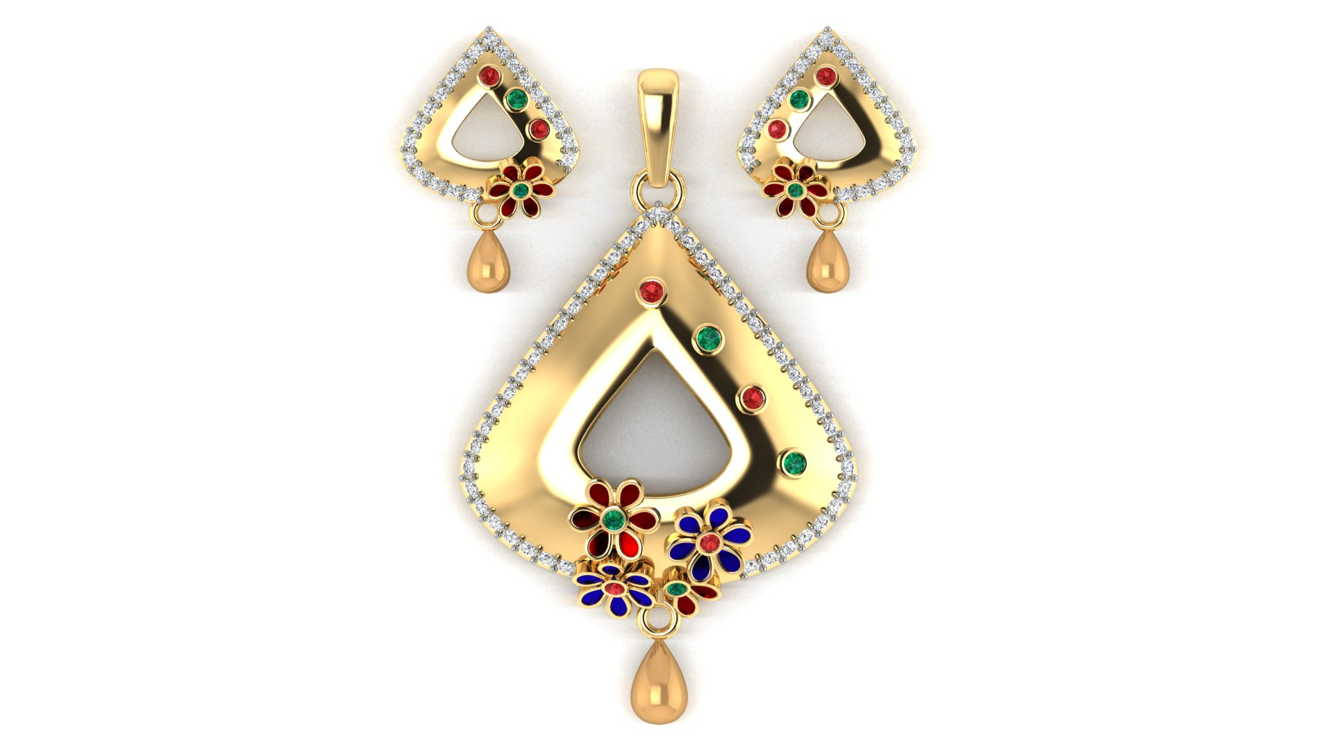 18 Carat Yellow Gold Pendant and Butti with Diamond Border