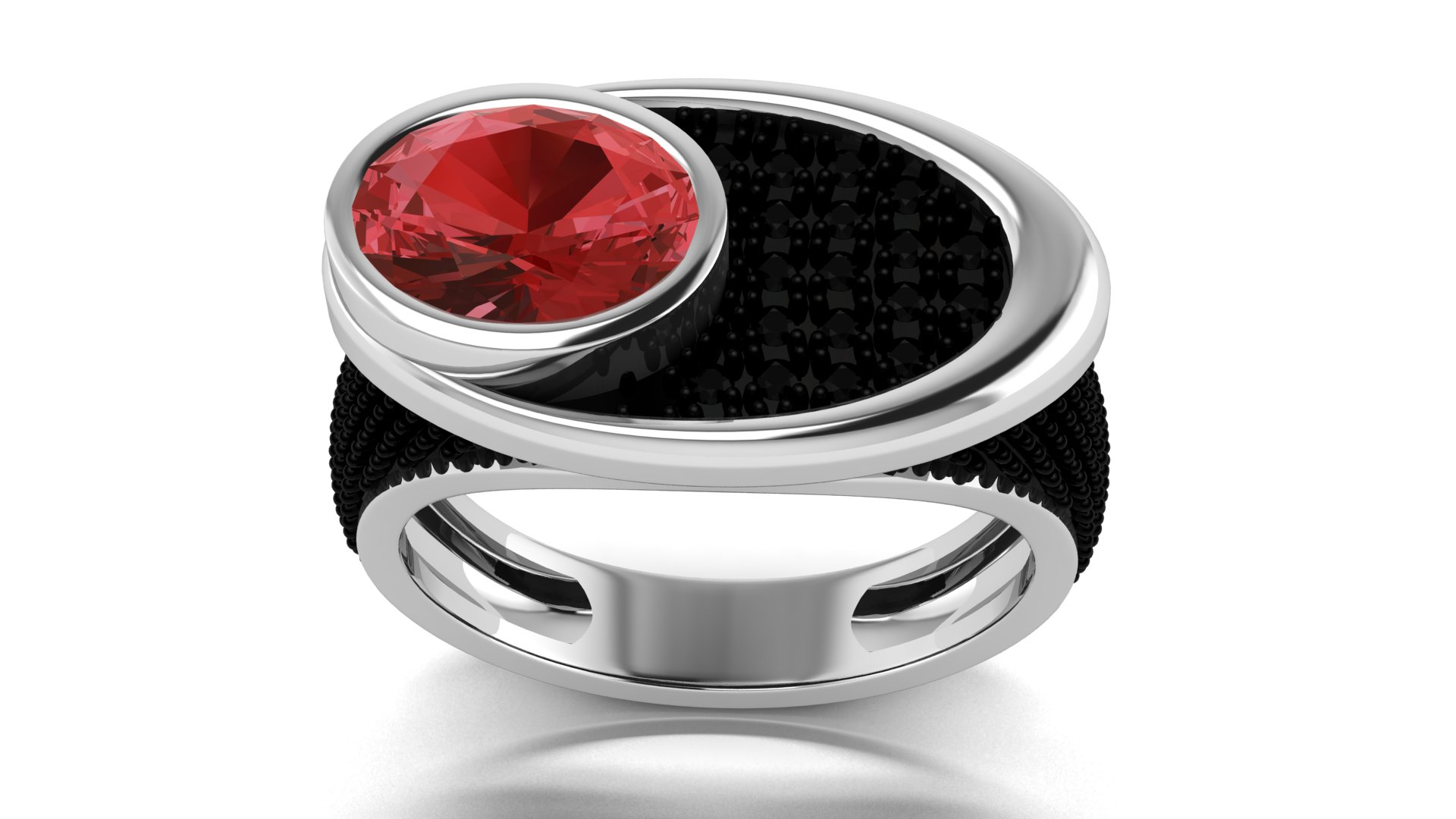 Red Stone Black Color Gents Ring Online Shopping