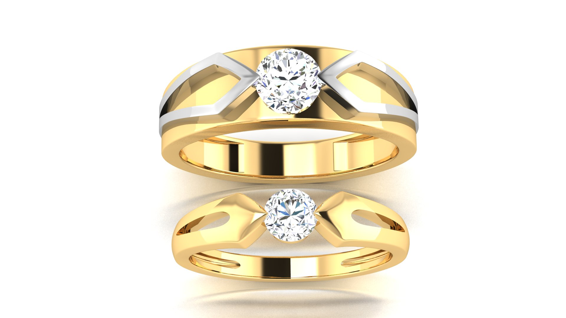 20 Carat Gold Couple Ring with Silver Metal