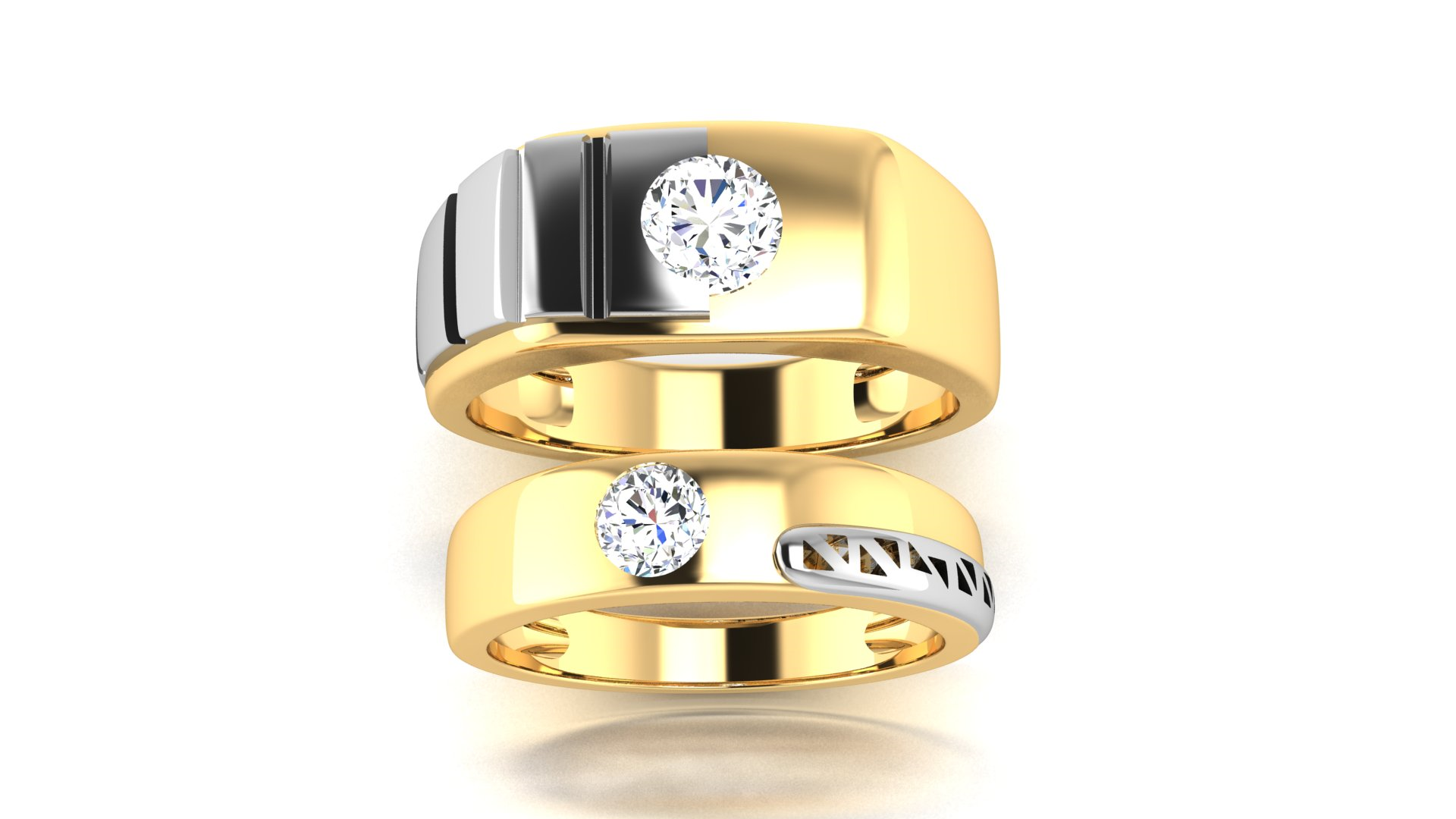 single diamond couple ring