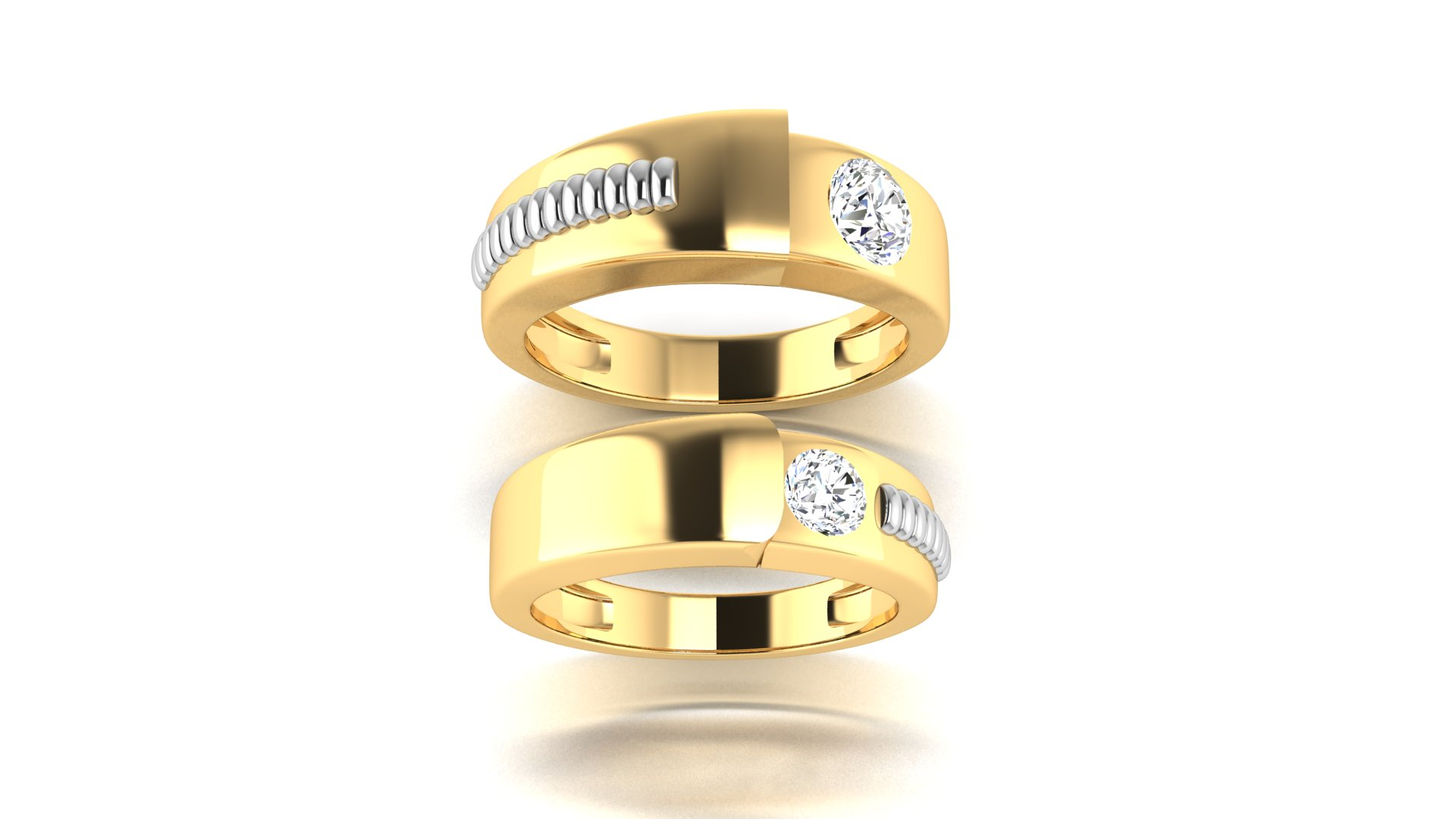 Single Studded Diamond Designer Couple Rings