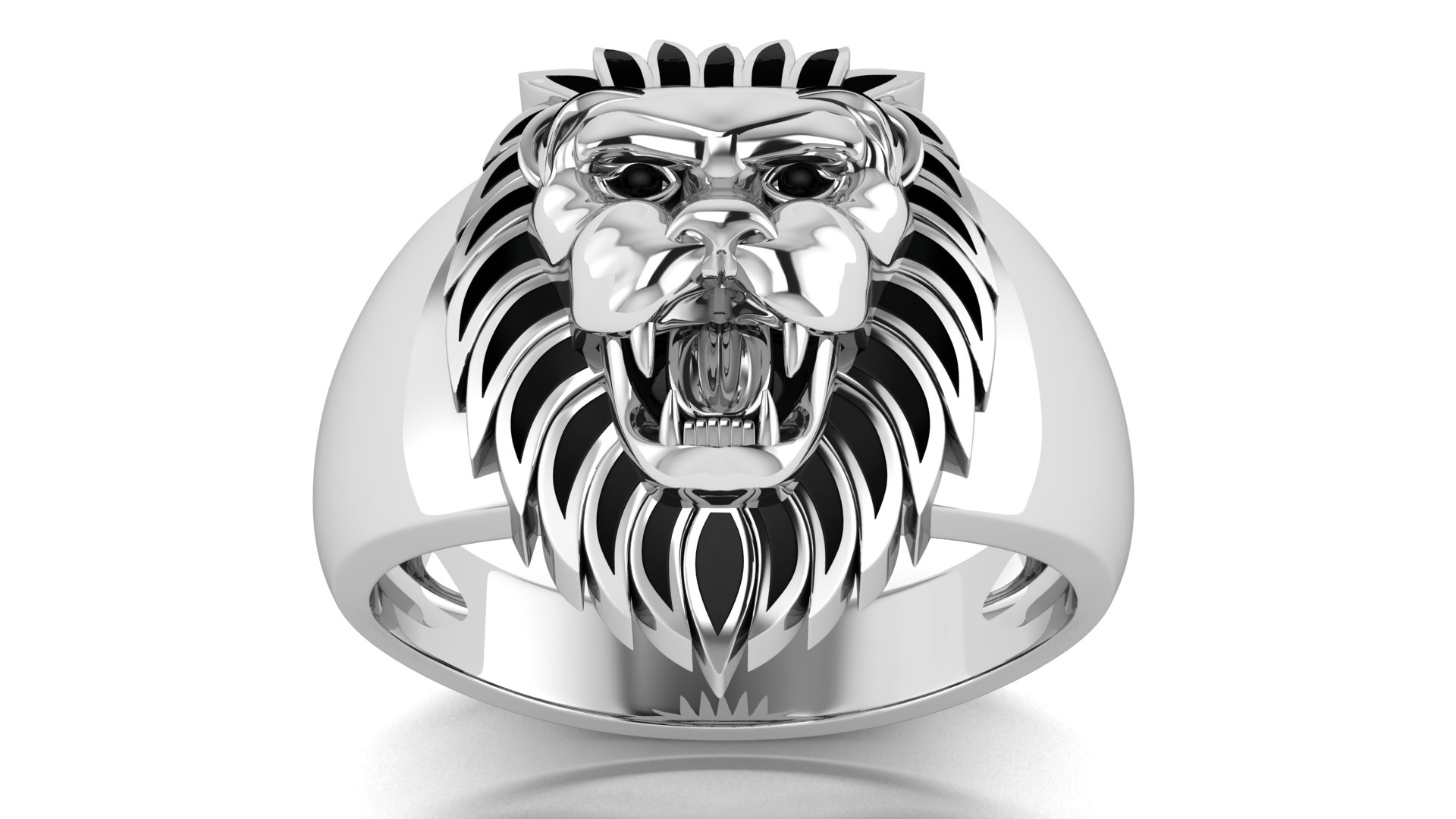 Lion Symbol Designer Silver Ring for Men
