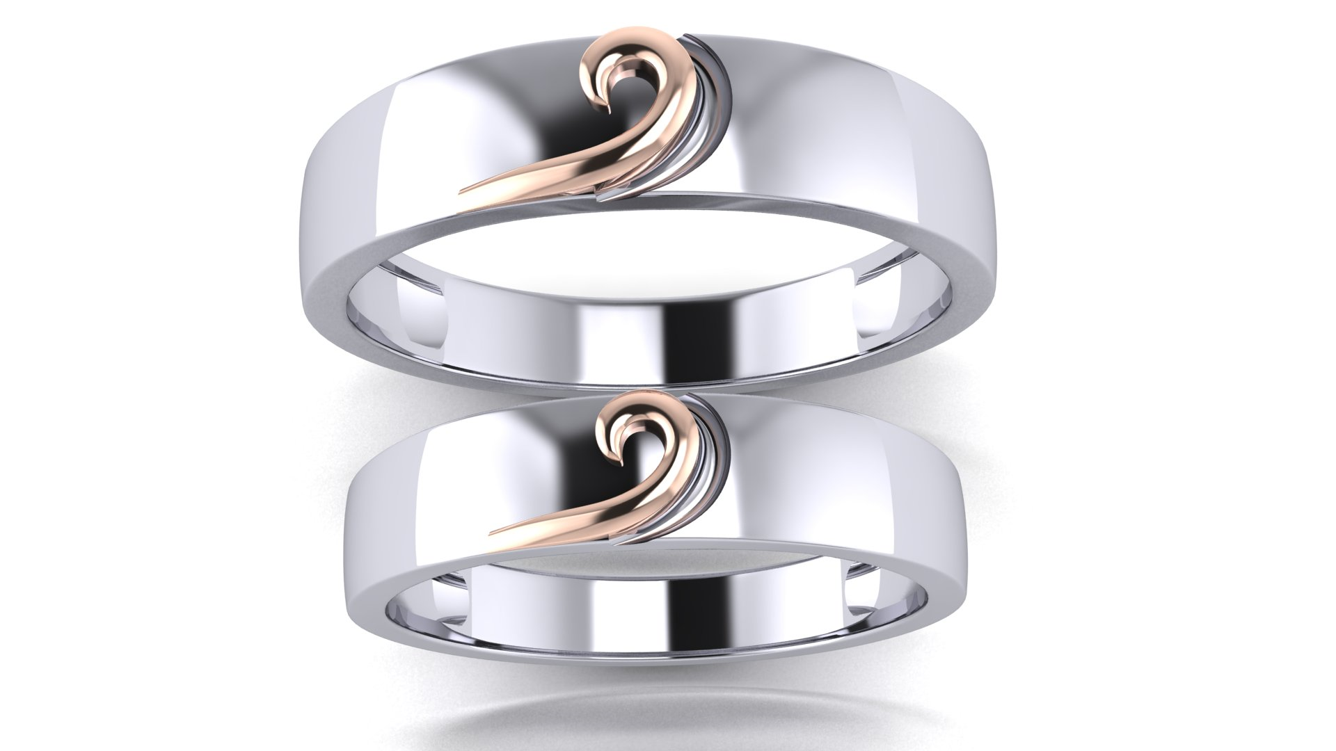 Metal & Silver Couple Bands Twin Ring