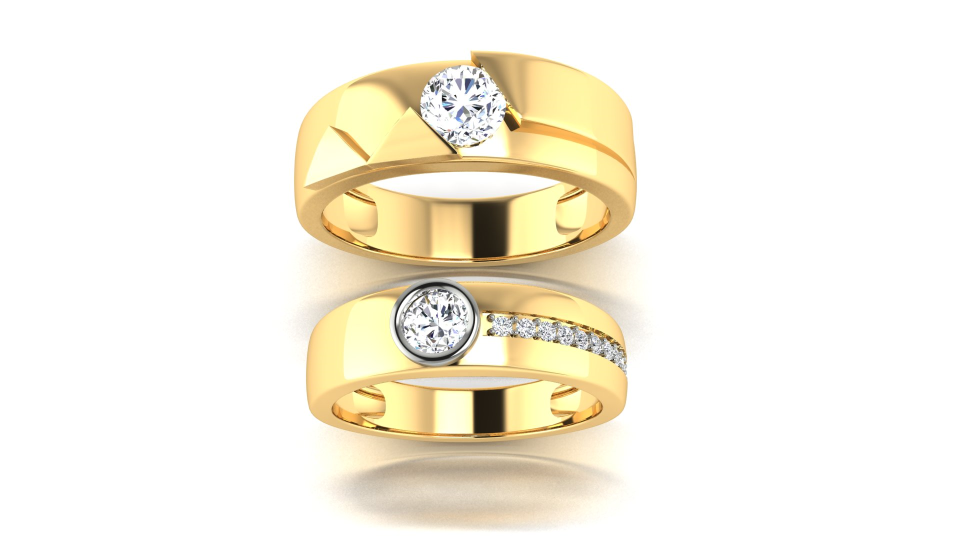 Couple Bands Gold Man and Women Rings