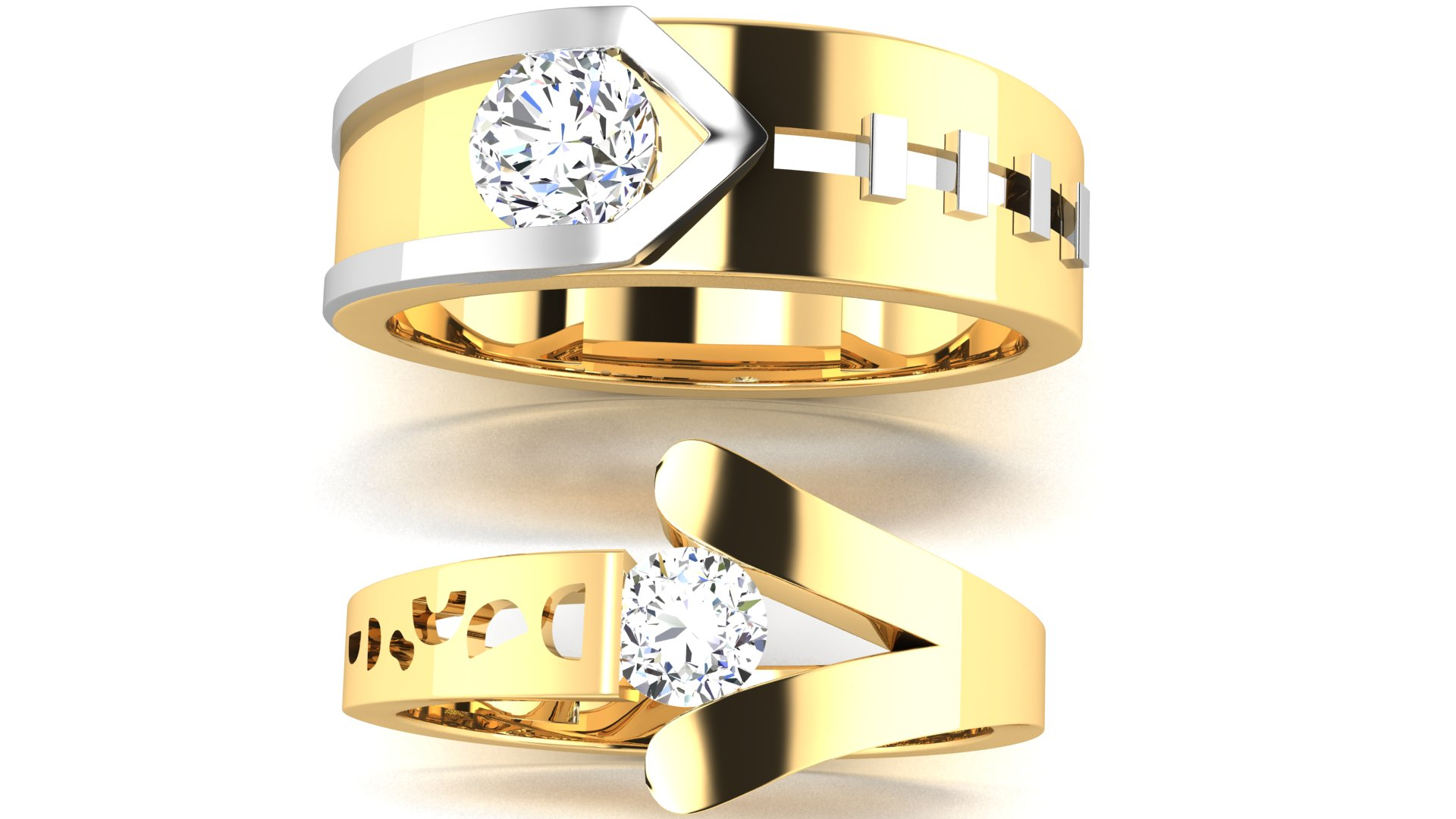 Designer Couple Ring in Gold & Diamond