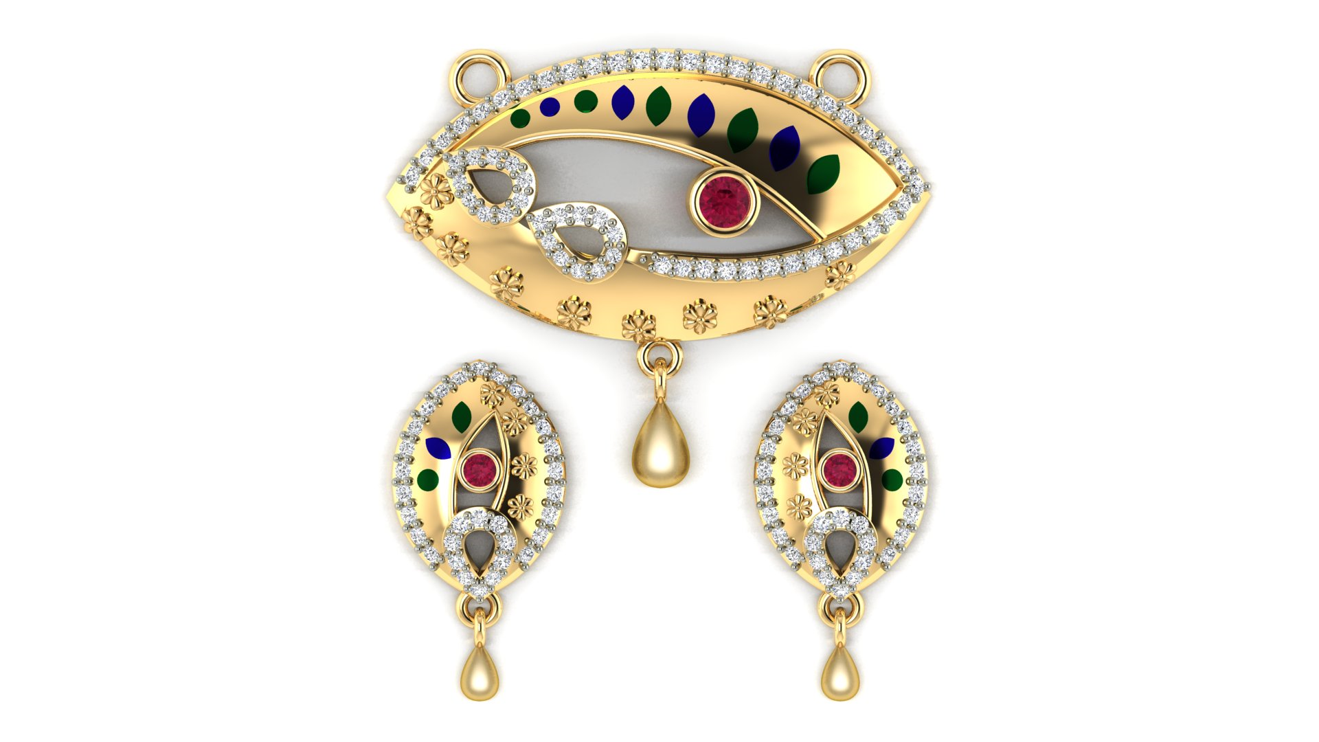 Mangalsutra with Studded Diamond Earrings