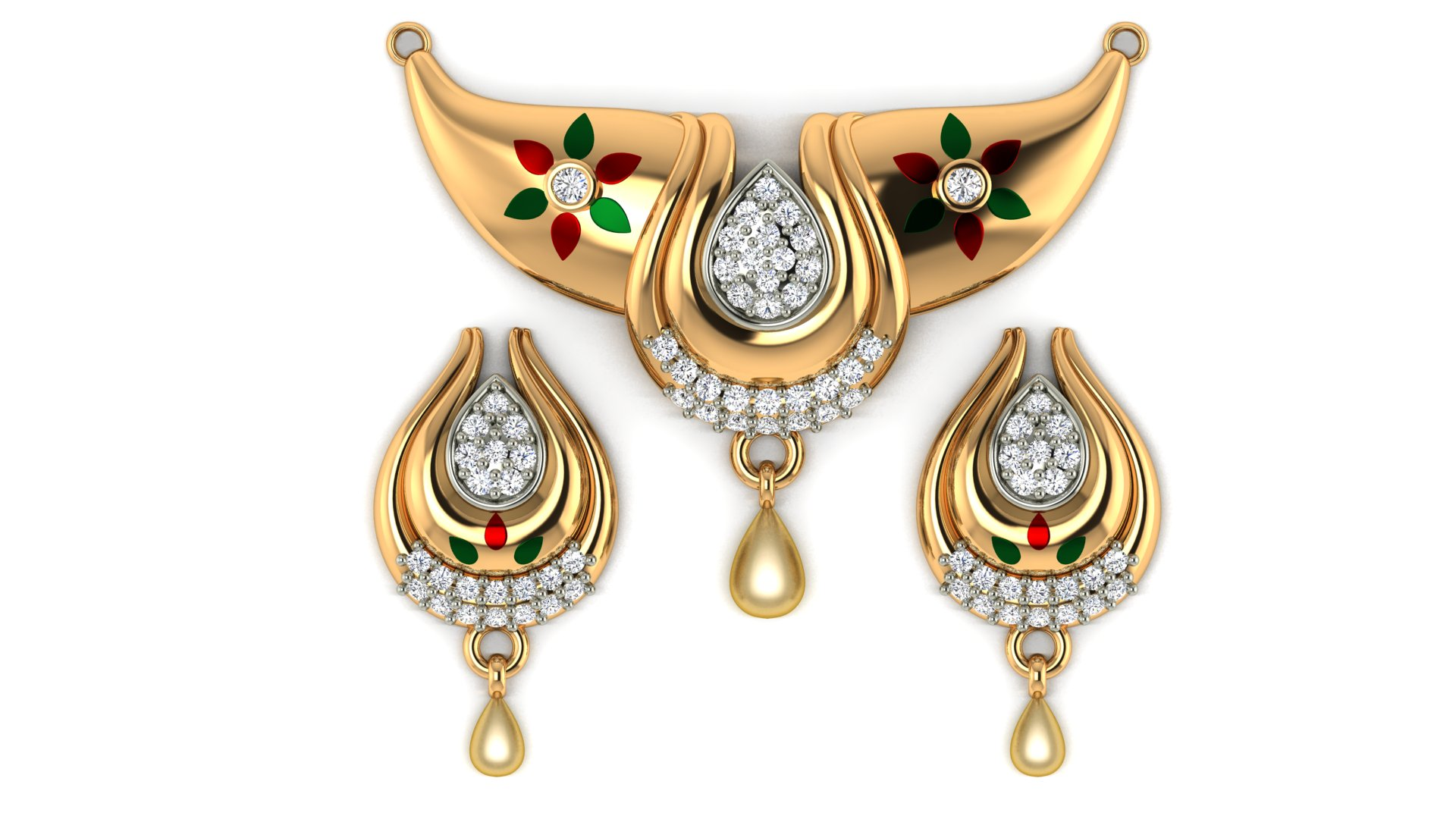 Designer Mangalsutra with Matching Diamond Butti
